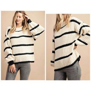 Kori America sweater L ivory black stripe NWT